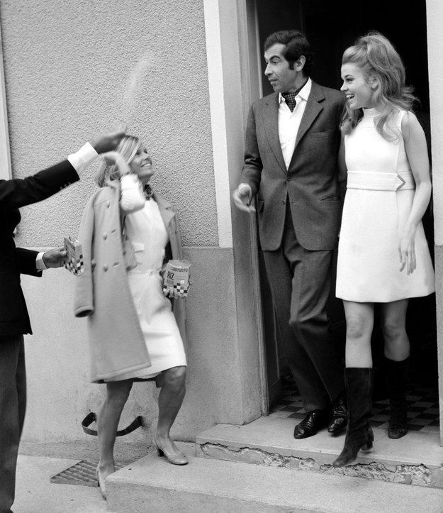 Jane Fonda and Roger Vadim, 1965 Director Roger Vadim and Fonda were apparently way into group sex and threesomes. Their marriage lasted eight years and the making of the movie Barbarella before she divorced him and married activist Tom Hayden.