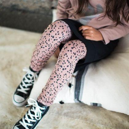 Wrinkled leggings - tiger dots ash pink