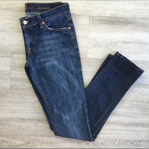 """7 for All Mankind Roxanne Skinny Jeans Excellent condition, gently worn 7 for All Mankind Roxanne original skinny jeans in rich blue wash. Slim through hip and thigh with longer inseam. Five pockets. Very mild wear on leg openings. They're just too small for me (bummer!). Flat measurements: 32"""" inseam; 8"""" front rise; 11"""" back rise; 15.5"""" across waist; 6"""" leg opening. Fabric is cotton/spandex blend. Machine wash cold inside out. Hang dry. 7 for all Mankind Jeans Skinny"""