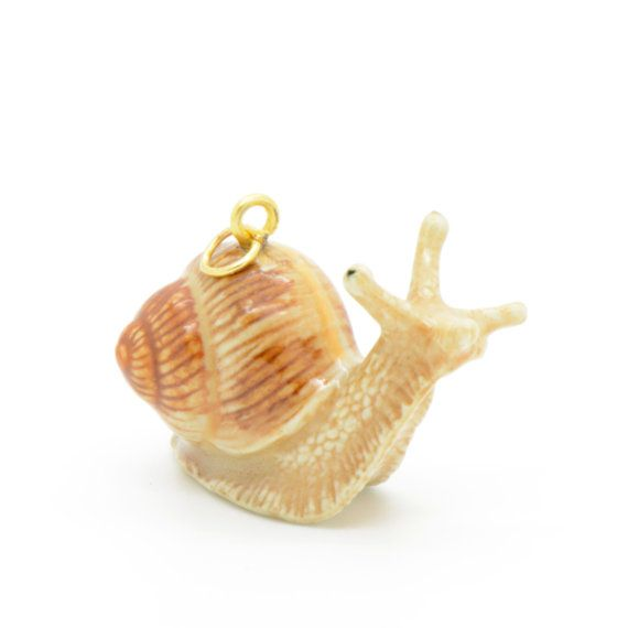 1 - Porcelain Snail Pendant Animal Hand Painted Glaze Ceramic Animal Small Ceramic Snail Bead Vintage Jewelry Supplies  • Material: Ceramic