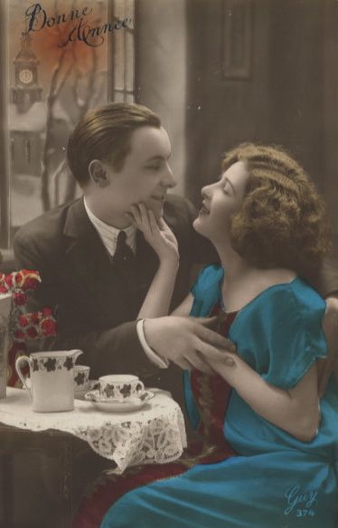Two for Tea! 1920s postcard...don't you just love this, honey? I love you, Mr. C