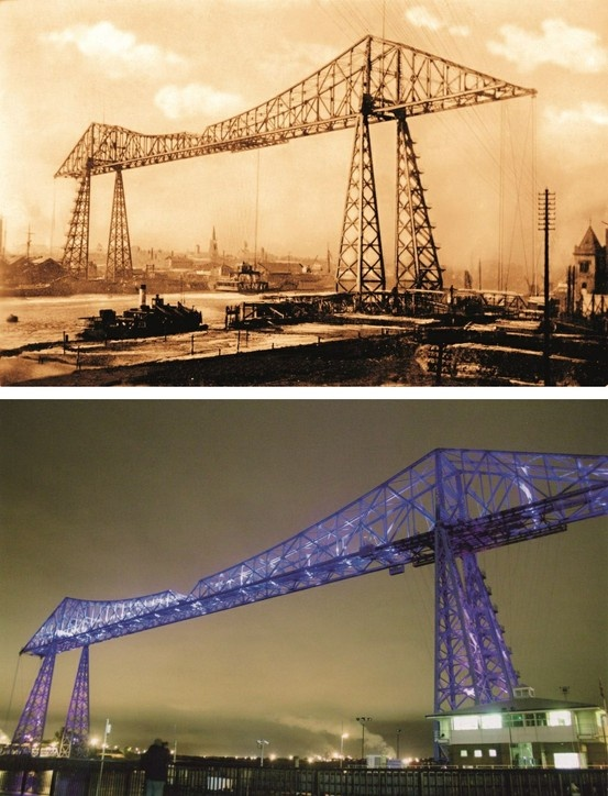 The Transporter Bridge in Middlesbrough in 1921 and 2011.