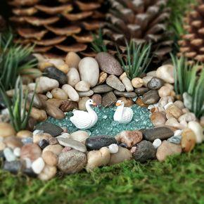 Fairy Garden Swans Miniature Swan – Set of 2 Birds Fairy Garden Accessories Craft Supplies Terrarium Beach Fairy Pond Dollhouse Miniatures – Gnome and Fairy gardens