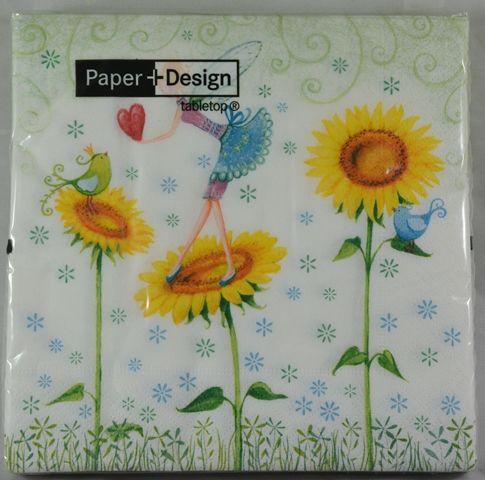 Tovaglioli carta girasoli e fatina 20 pz per - Tovaglioli di carta decorati ...