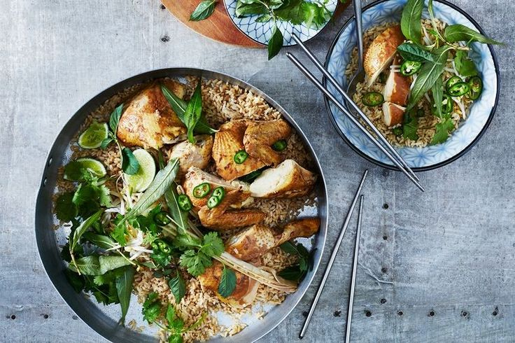 Soy-poached chicken with lemongrass brown rice
