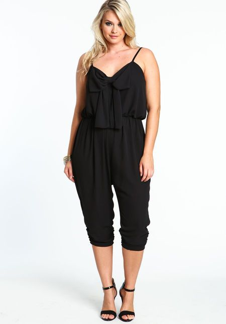 Plus Size Front Bow Capri Jumpsuit BLACK Large | Spring/Summer Outfits | Pinterest | Rompers ...