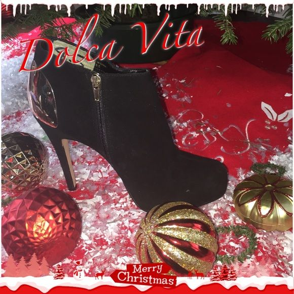 "Vixen Dolce Vita 5"" very vixen fashionista sky high beauties. So great for winter and believe it or not very comfy to walk for 5"". Just perfect for all those Christmas parties around the corner. These have only been worn for a modeling at a fashion show however are little scratched on the gold, pic shown. Otherwise great condition!. Send in offers! 8/9 fit Dolce Vita Shoes Heels"