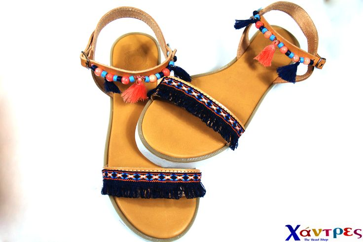 Greek leather sandals decorated with ceramic beads, semiprecious stones and little tassels. Ideal for summer time.