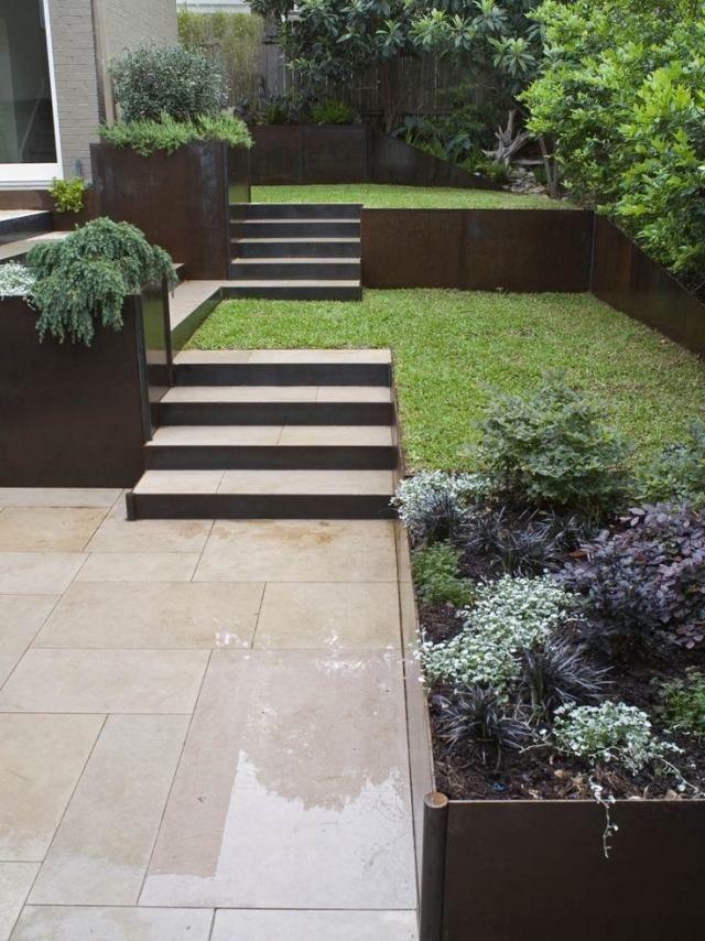 Minimalimus im Landschaftsbau-geometrische Treppen-mit Gras-verlegen