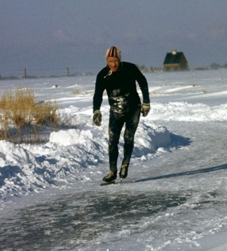 Legendary iceskater Reinier Paping. Winner of the Elfstedentocht 1963. Hollands most legendary iceskating event.