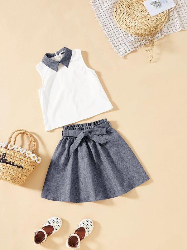 75ecd8f3455e Girls Collar Neck Shell Top   Belted Skirt Set -SheIn(Sheinside ...