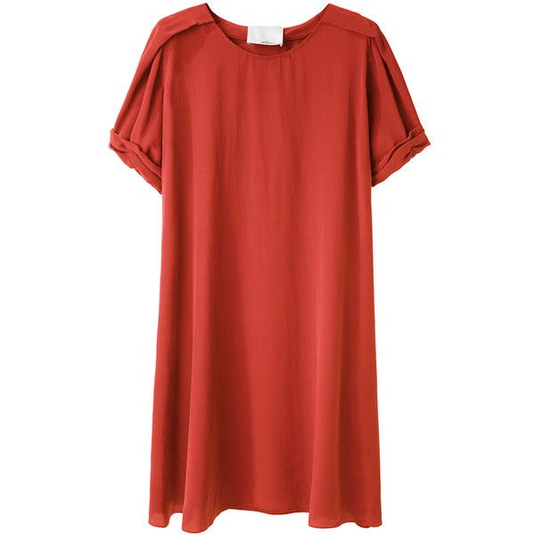 3.1 Phillip Lim Silk T-Shirt Dress ($495) ❤ liked on Polyvore featuring dresses, tops, vestidos, shirts, women, poppy dress, draped dress, red pleated dress, red short sleeve dress and red silk dress