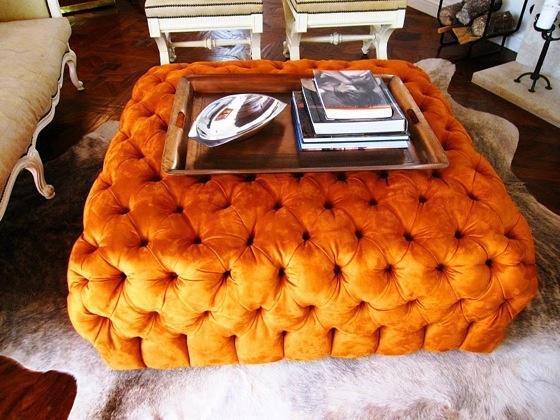 Orange OttomanCoffe Tables, Orange Crushes, Burnt Orange, Livingroom, Living Room, Dresses Room, Los Angels, Furniture, Tufted Ottoman