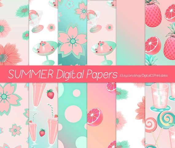 Summer digital paper summer scrapbook paper 12x12 digital paper commercial use Peach and mint Coral and mint by DigitalCSPrintables