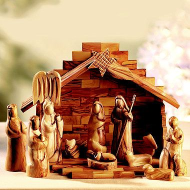 Hey Hubby......I've been searching for one this beautiful for YEARS!!!!!  12-Piece Olive Wood Nativity Set - From Lakeland