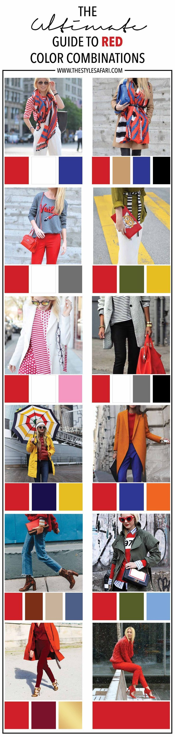 The Ultimate Guide to Red color combinations, how to wear red, red outfit ideas, red color combos