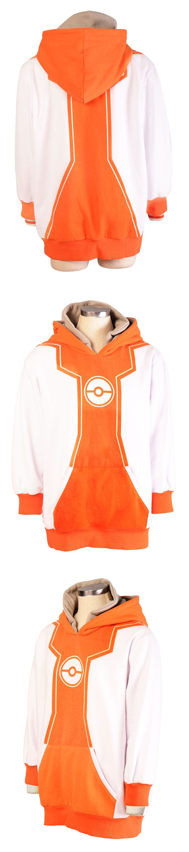 Pokemon Go Trainer Orange Hoodie Cosplay Costume Hooded Jacket  Coat For Men Women Size S-XXL
