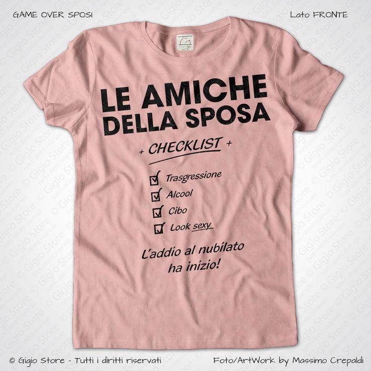 Magliette Addio al Nubilato Amiche della Sposa T-Shirt colore Rosa Chic Stampa Personalizzata Colore Nero Taglia XS, S, M, L, XL