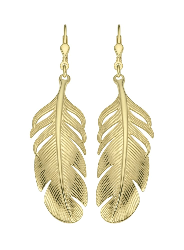 ladies feather earrings gold