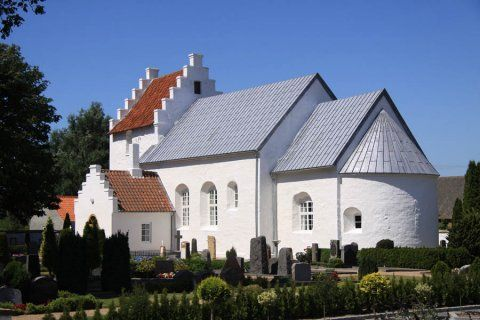 (Pedersker kirke) St. Peters Church in Pedersker, Bornholm, Denmark. The oldest church in Bornholm built in the 10th or 11th century. Diderik Espersen Funk, his wife, their parents and all their children were born on the Eskesgard farm in the village of Pedersker, Bornholm.
