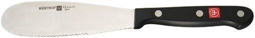 Wusthof Gourmet 5-Inch Spreader by Wusthof. $19.95. Measures approximately 10 by 2 by 1/2 inches; limited lifetime warranty. Stamped from high-carbon steel with a stain-resistant alloy. Made in Germany; hand wash for best results. Synthetic polypropylene handle triple riveted for durability. 5-inch serrated spreader functions as the ultimate sandwich knife. Amazon.com Product Description                A useful addition to any cutlery collection, this 5-inch serrated spreader by ...