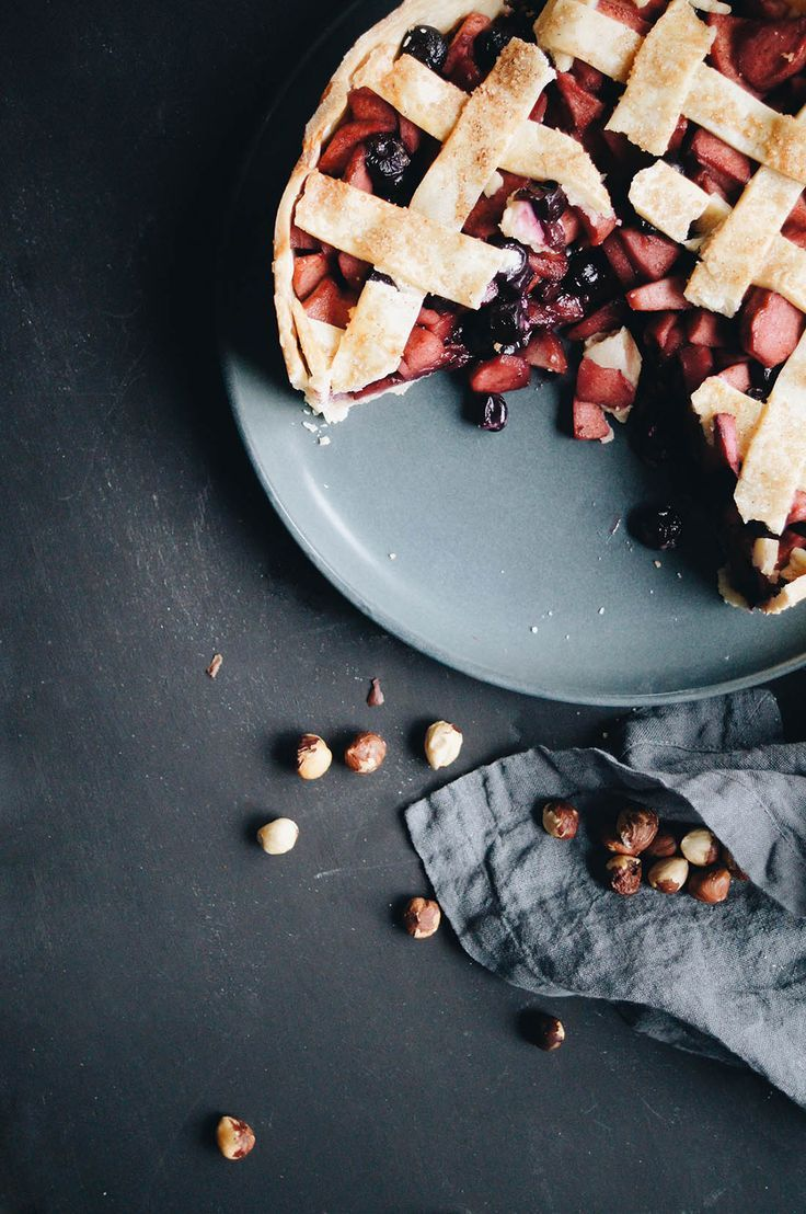 apple, blueberry + hazelnut deep dish pie.