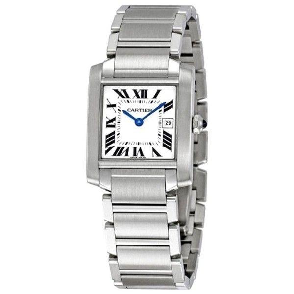 Pre-owned Cartier Tank Francaise W51011Q3 25mm Watch ($3,250) ❤ liked on Polyvore featuring jewelry, watches, pre owned jewelry, cartier watches, cartier wrist watch, pre owned watches ve preowned watches