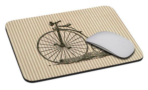Fiets (velocipede) - muismat - Zachte stoffen kap - Zware natuurlijk rubber…