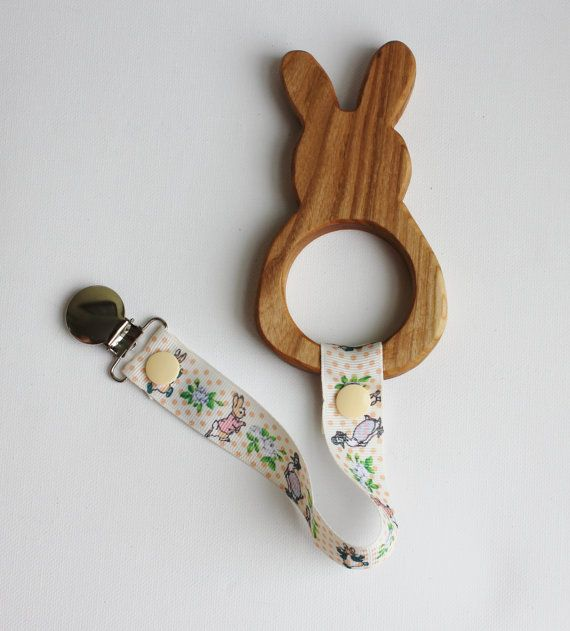 Bunny Wooden Teether  Easter Wooden Teether  by PaciCatchers
