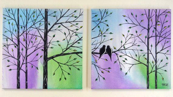 ART SALE Large Love Birds in Tree Acrylic by jmichaelpaintings