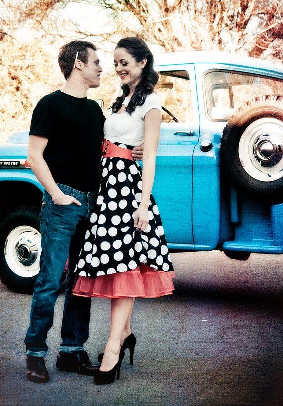 Full Circle Polka Dot Skirt and Petticoat Combo - Custom Sized.  By Missbrache on etsy (189 dollars)