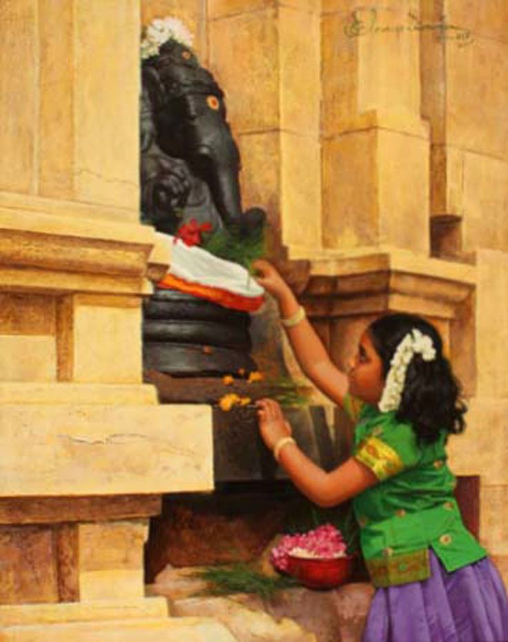 Tamil little girl offering flower to Elephant god Pillaiyar - Painting by S. Elayaraja