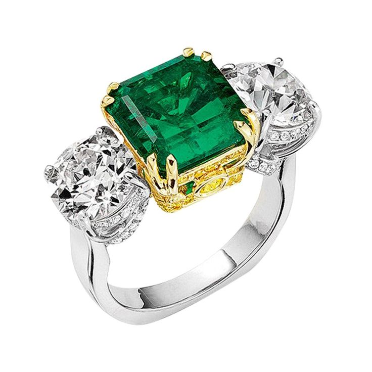 4ct Colombian Emerald Diamond Ring – CJ Charles Jewelers