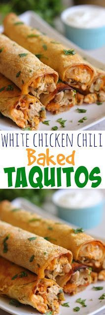 White Chicken Chili Baked Taquitos - filled with chicken, white beans, green chiles, cumin, cilantro, cheese and cream cheese!