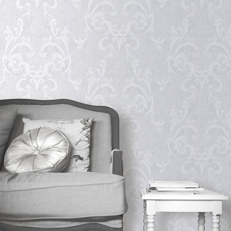 Muriva 136503 Juliette Wallpaper Roll - Silver: Amazon.co.uk: DIY & Tools