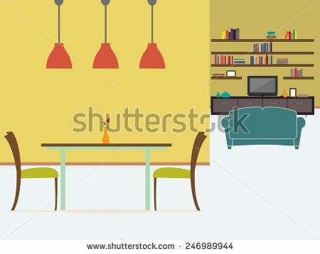 Dining room and living room interior
