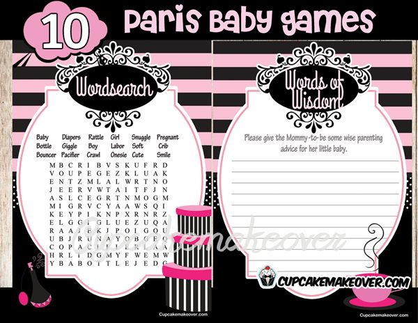 Chic PARIS Baby Shower diva Party Printables