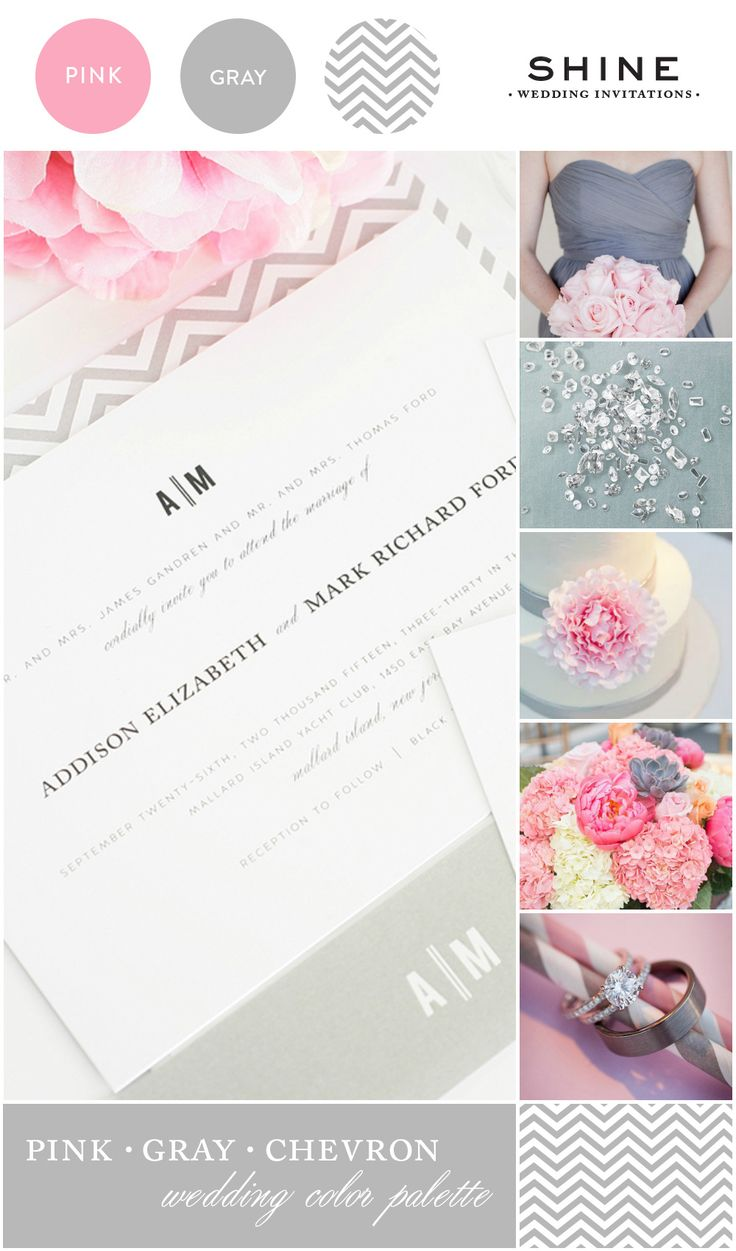 Pink and Gray Chevron Wedding Inspiration featuring Vintage Invitations - http://www.shineweddinginvitations.com/wedding-invitations/urban-vintage-wedding-invitations