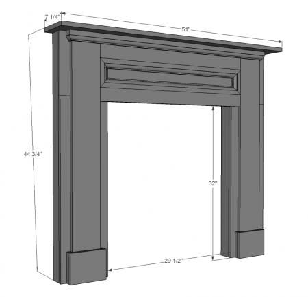 Template to build your own faux fireplace mantel…  for middle bedroom?