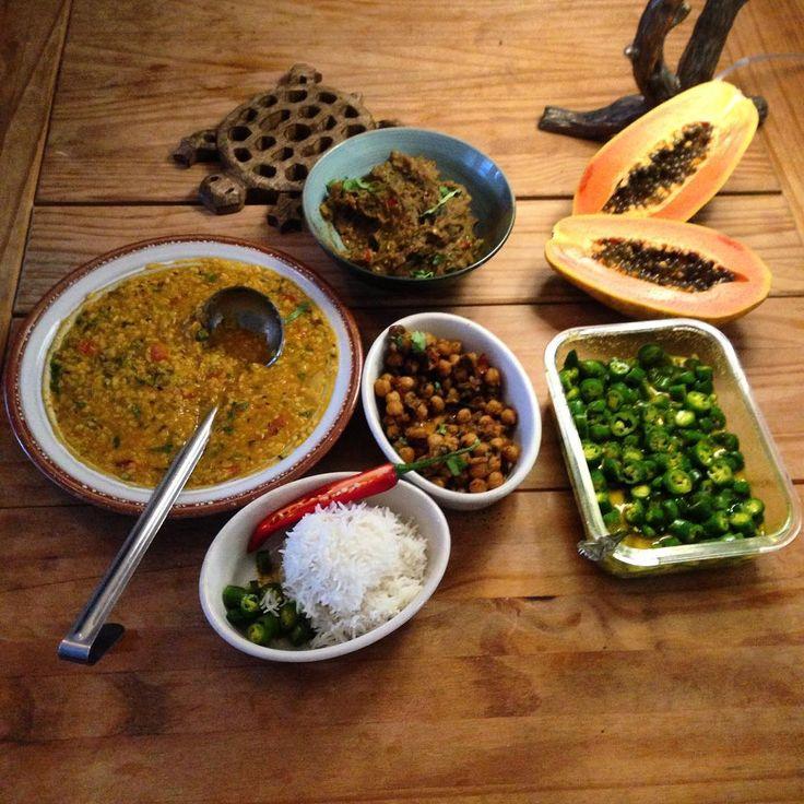 We're taste testing Anthony's menu for next week's North Indian thali: Moong dal, baingan bharta, chana masala, and chili pickle. #thalitime #indianfood #thali #whatsanthonycooking #food #cooking #onthetable #whatsfordinner #tgif #josephine #josephineseattle #seattle http://misstagram.com/ipost/1543925690771113951/?code=BVtIDxWAwff