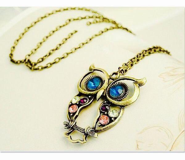 Crystal Owl Necklace Bronze Rhinestone Retro Vintage Long Chain Owl Pendant | eBay