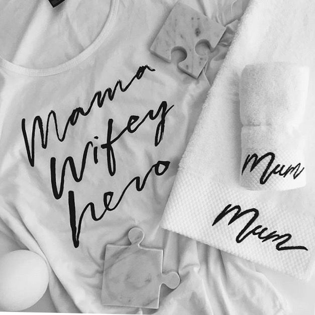 Mum typography embroidered towel flatlay