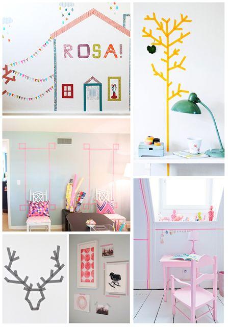 Washi Tape, leuke en budgetvriendelijke manier om bijvoorbeeld een saaie muur op de kinderkamer op te vrolijken!
