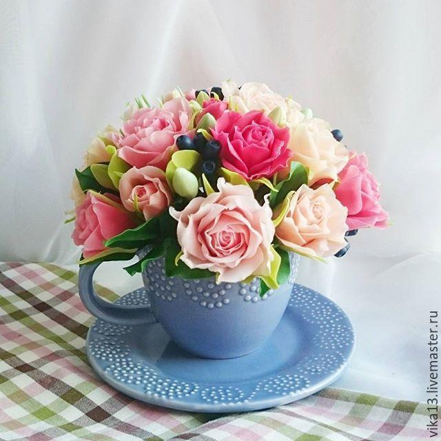 """Купить Букет """"Лиловая чашечка"""" - сиреневый, букет цветов, букет из полимерной глины"""