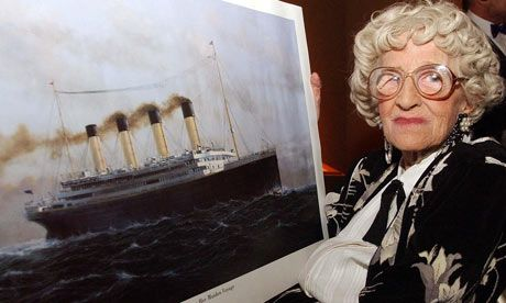 Millvina Dean, the last living survivor of the Titanic disaster, with a painting of the vessel