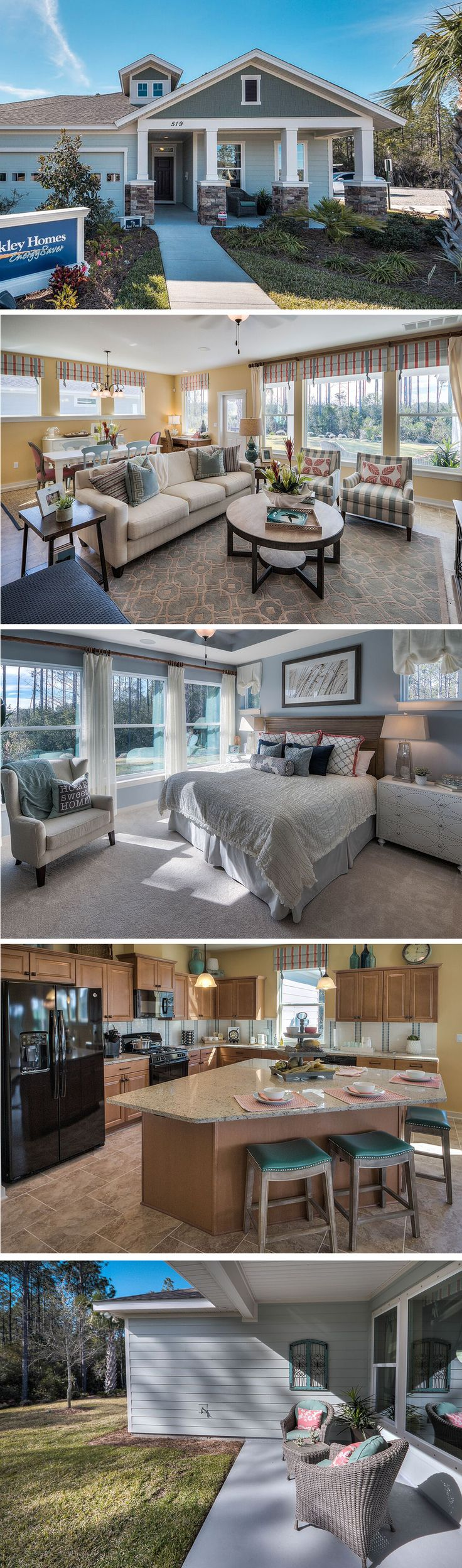 The Sand Dune by David Weekley Homes in Breakfast Point is a 3 bedroom, 2 bath floorplan that features a front porch, a lanai, and a large owners retreat. Custom home upgrades include tray ceilings in the owners retreat, an extended lanai or a change to the owners bath layout.