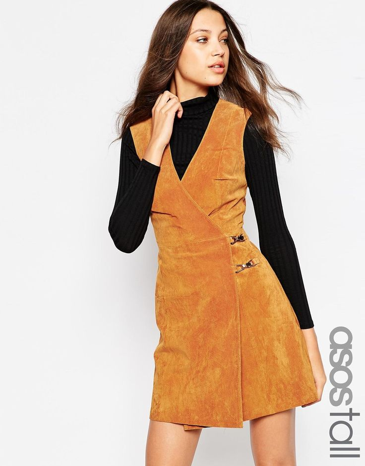 Image 1 ofASOS TALL Suede Dress With Metal Detail