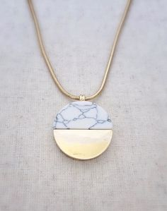 """▲ Marble + Gold my two current loves. Beautiful pendant on gold rope chain. ▲ Adjustable length of 24""""-27"""""""