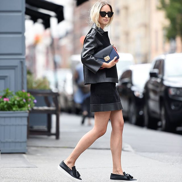 31 Perfect Looks To Copy This October #refinery29  http://www.refinery29.com/october-outfit-of-the-day-ideas#slide-3  Let your favorite miniskirt stay seasonally appropriate with a coordinated leather jacket and cute-but-comfortable slip-on kicks.Longchamp jacket skirt, shoes, and bag, Celine sunglasses....
