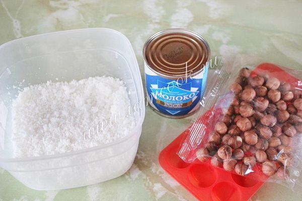 Кокосовые конфеты с фундуком, рецепт с фото.